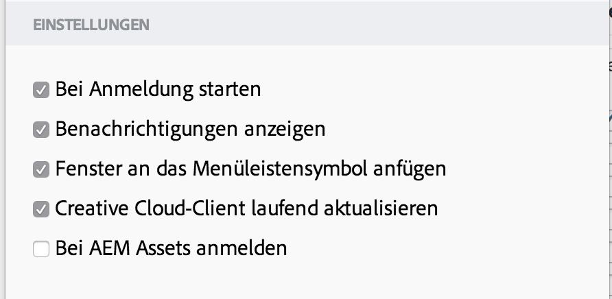 Voreinstellungen-Fenster von Adobe