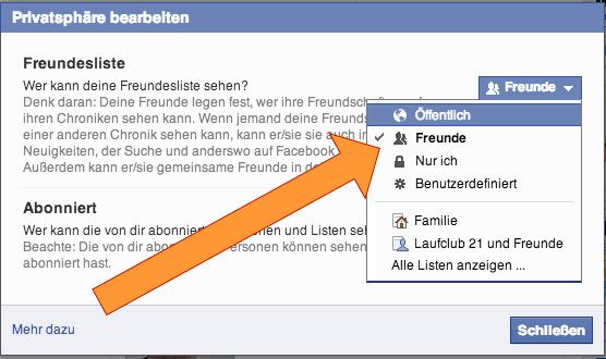 Facebook Freundesliste Sichtbarkeit ändern