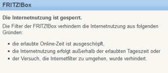 Fritzbox Achtung Sperre