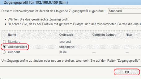 Fritzbox Profil ändern