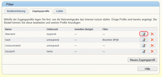Fritzbox Zugangsprofil anpassen