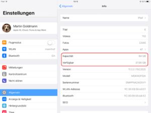 Auf dem iPad den verfügbaren Speicherplatz ermitteln