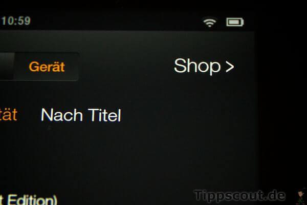 Amazon Kindle Fire Schaltfläche Shop