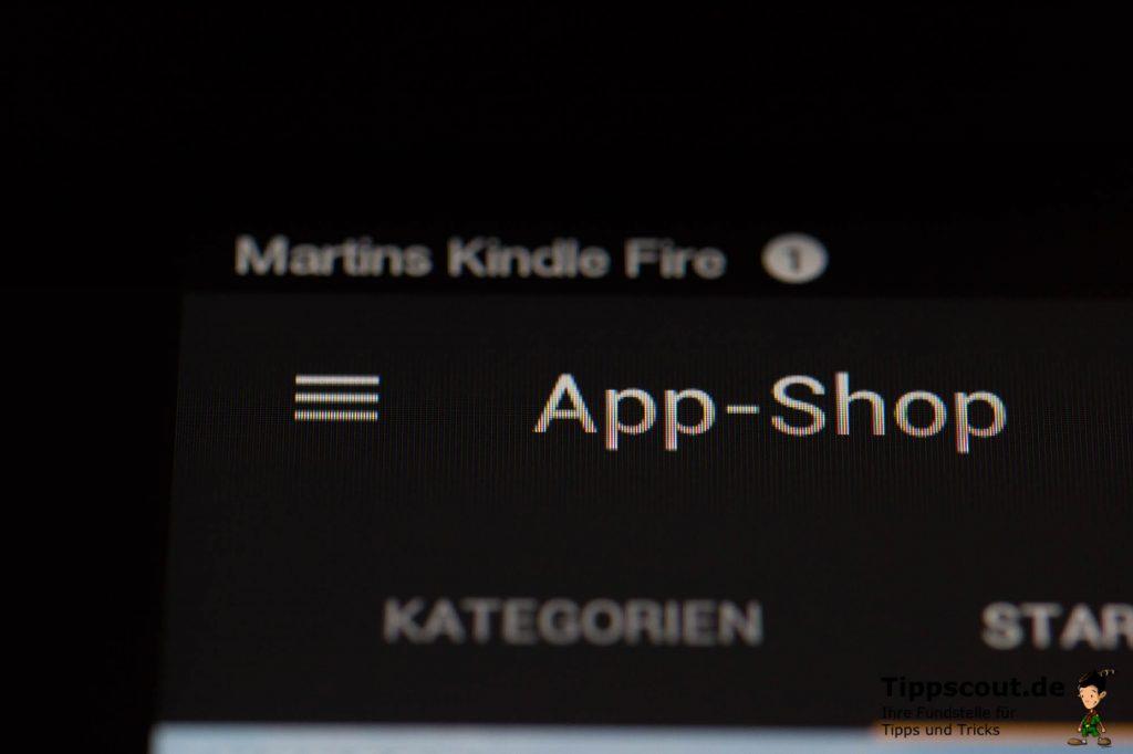 Das Menüsymbol befindet sich links neben der Überschrift App Shop