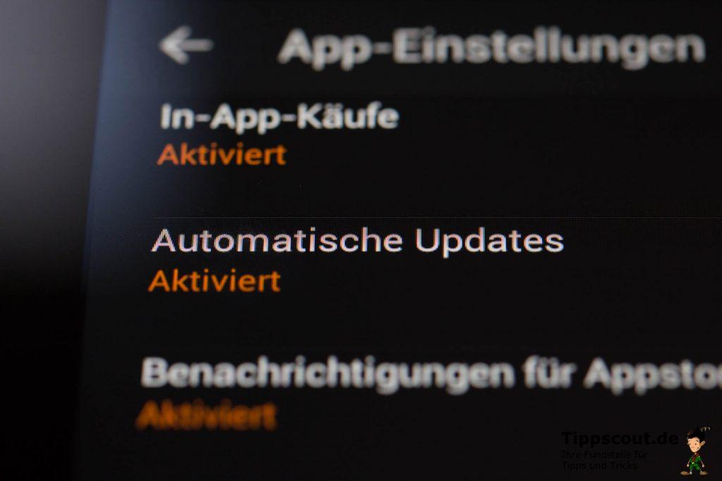 Per Standard sind automatische Updates aktiviert.