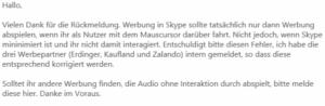 Skype-Forum zur Werbung