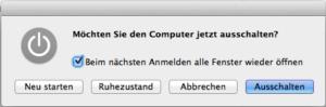 Den Mac schnell ausschalten
