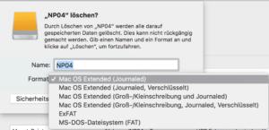Dateisystem für das Formatieren der Festplatte auswählen