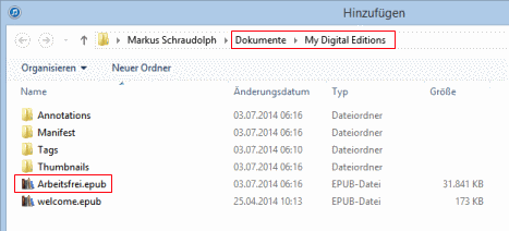 Speicherort EPUB-Dateien