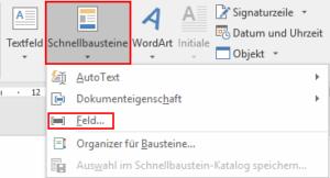 Word - Schnellbausteine Feld