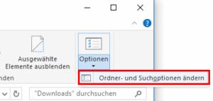 Zu den Ordneroptionen in Windows 10