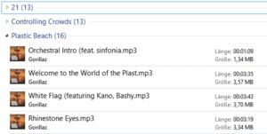 Nach dem Sortieren zeigt der Explorer die MP3 Dateien so an.