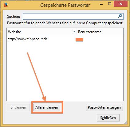 Gespeicherte Passwörter