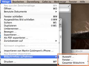 Screenshot über das Programm Vorschau