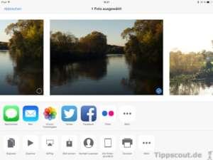 Auswahlmenü bei einem Foto auf dem iPad - (Foto: Martin Goldmann)
