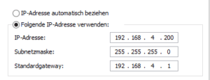 Ausgefüllte Informationen zur IP-Adresse