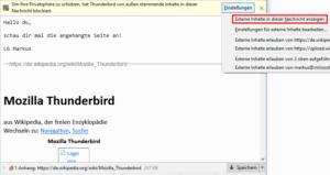 Thunderbird Ansicht der angehängten Website beim Empfänger