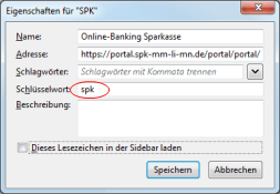 Firefox Tastaturkürzel für Bookmark