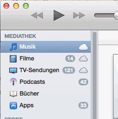 Wieder aktivierte Seitenleiste in iTunes 11