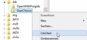 Regedit UserChoice löschen