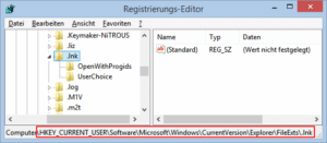 Regedit Zweig FileExts-LNK
