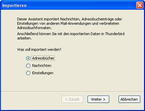 Mit diesem Assistenten importieren Sie Daten aus den Microsoft Produkten