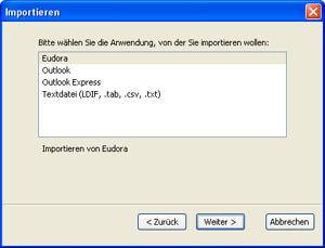 Wählen Sie aus, von welchem Mailprogramm Sie Daten importieren möchten