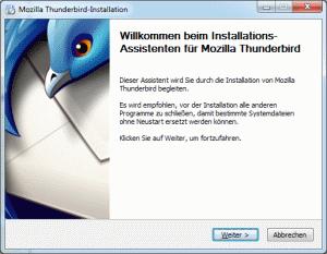 Der Assistent installiert Thunderbird auf Ihrem Rechner