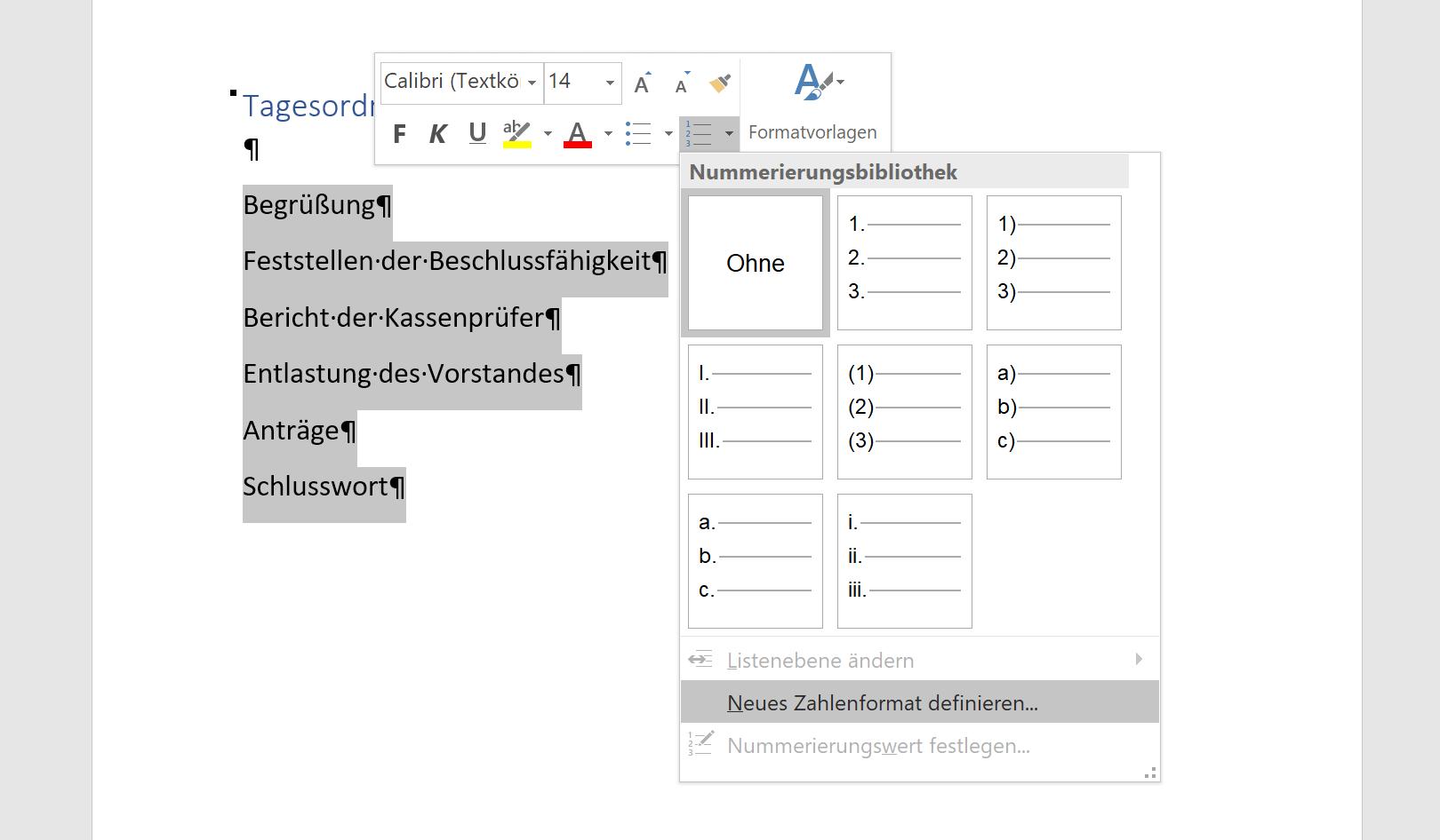 Neues Zahlenformat einrichten in Word