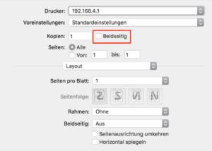 Im Druckdialog von Apple Pages sitzt die Option