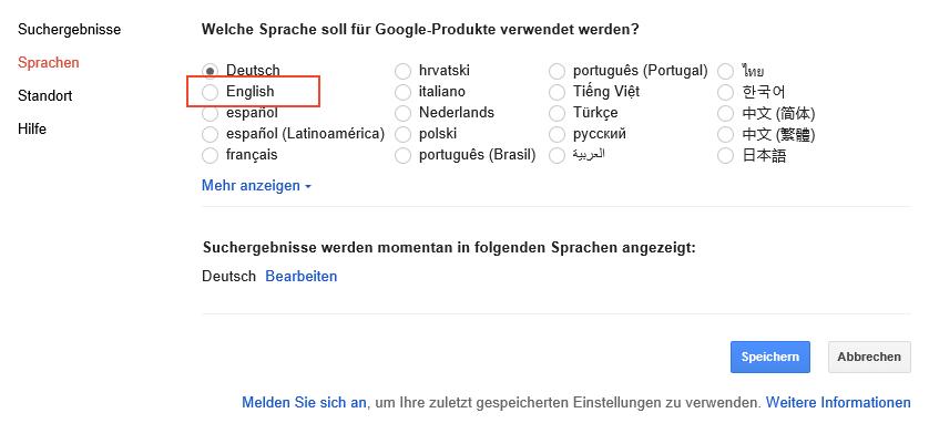 Google Sprachauswahl