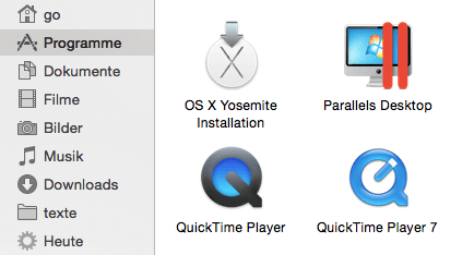 OS X Installation im Programm-Ordner