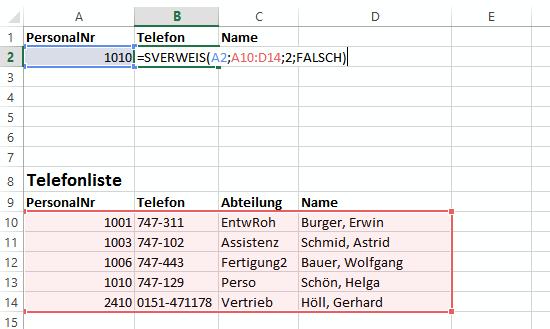 Suche in Telefonliste