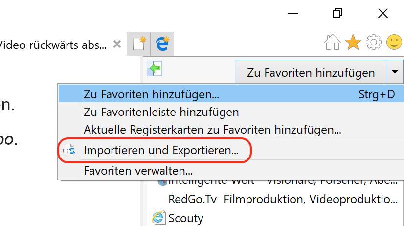 Internet Explorer Favoriten exportieren