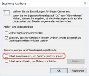 Dateien auf der Festplatte komprimieren