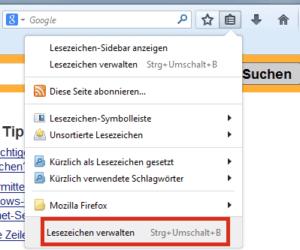 Menüpunkt Lesezeichen verwalten in Firefox
