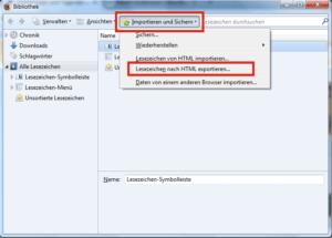 Lesezeichen nach HTML exportieren in Firefox