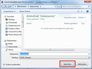 Die Bookmark-Datei speichern