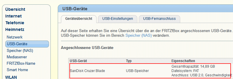 Fritzbox Informationen zu USB