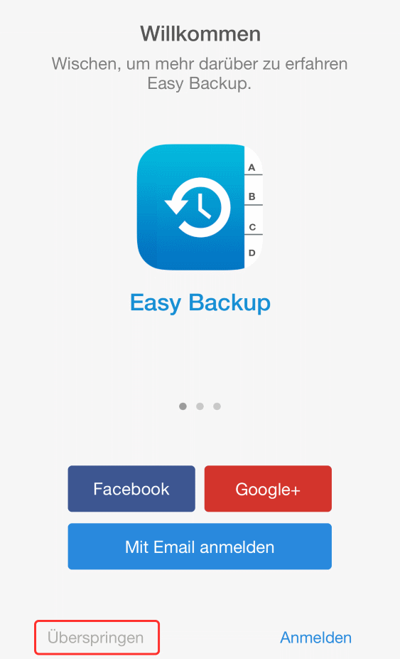 Easy Backup Startscreen
