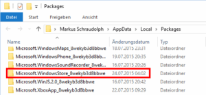 Windows Store Cache finden