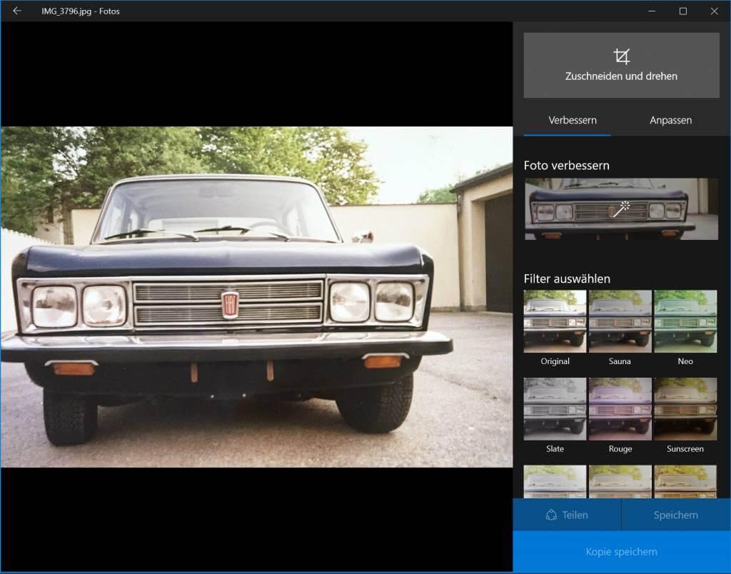 Fotos-App, um in Windows Bilder bearbeiten zu können