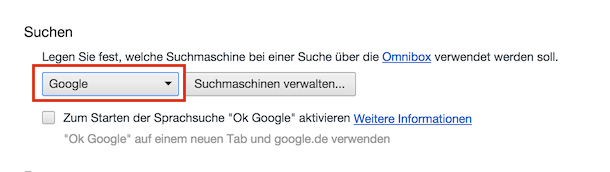 Suchen mit voreingestelltem Google