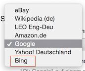 Auswahl der Suchmaschine Bing