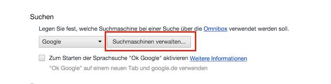 Suchmaschinen verwalten in Chrome