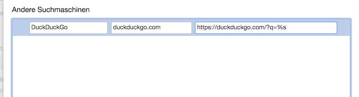 Die Eingabe der neuen Suchmaschine