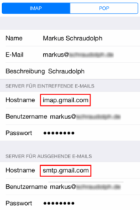 iPhone Gmail Servereinstellungen
