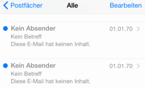iPhone leere Emails