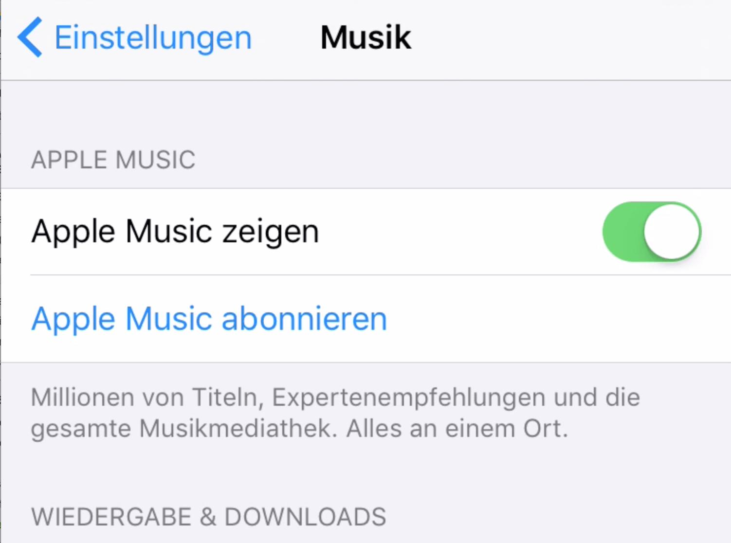Apple Music auf iPhone abgeschaltet