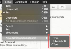 Startoption: Die Notes-App merkt sich, wie die erste Zeile einer Notiz aussehen soll.